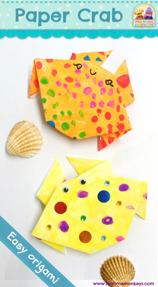 Paper Crab Craft Easy Origami Tea Time Monkeys