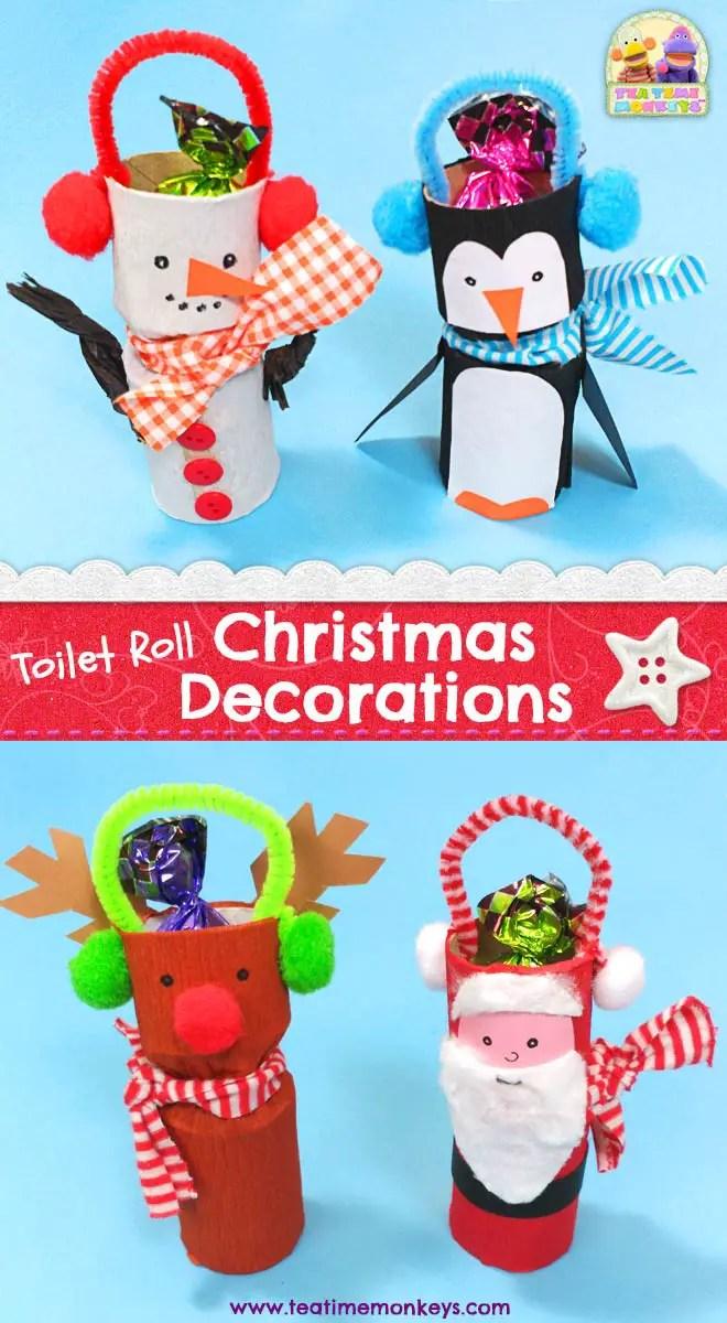 Cute Toilet Paper Roll Christmas Craft Tea Time Monkeys