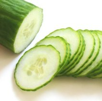 Thinly sliced English cucumbers.