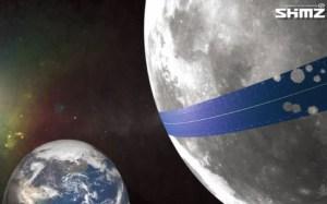 Anillo de paneles solares en la Luna.