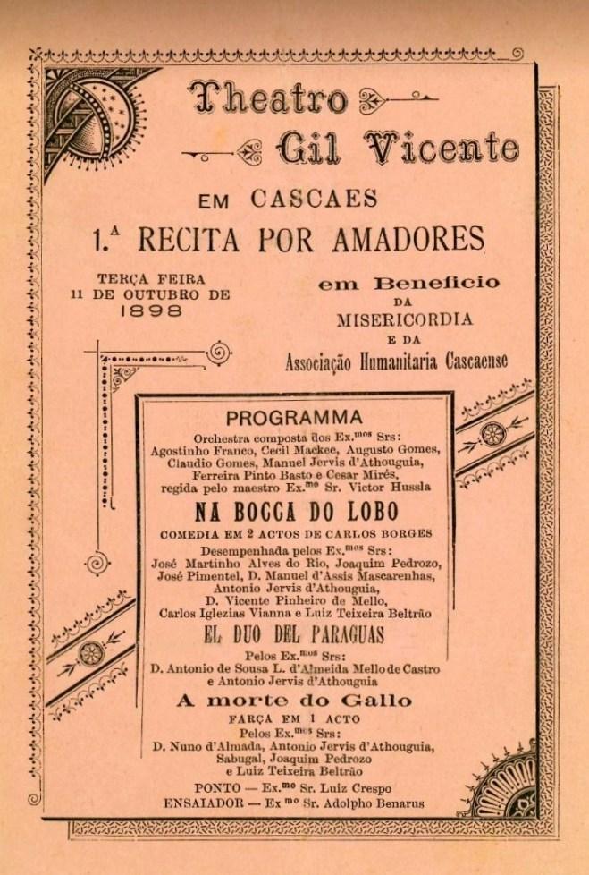PRIMEIRA RÉCITA TEATRAL POR AMADORES