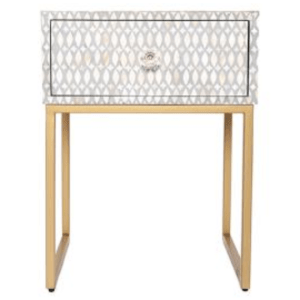 Romance Bone Inlay Bedside Table Front View