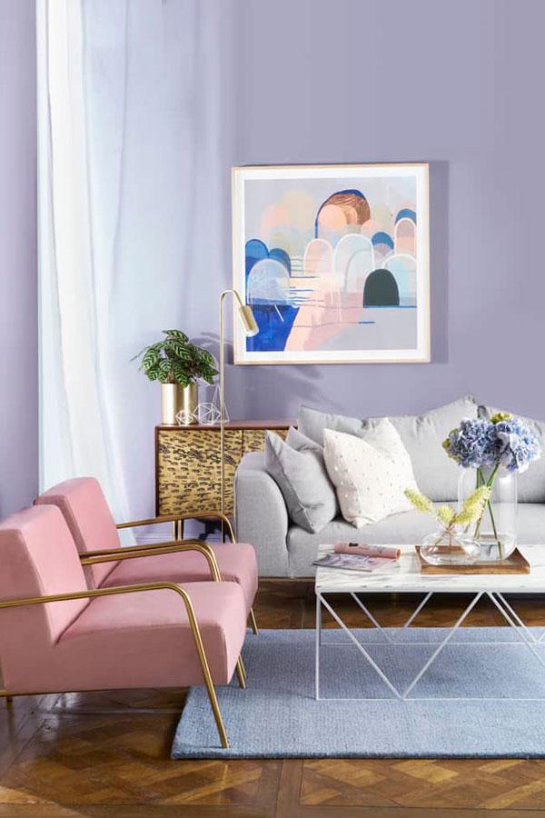 Analogous Colour Palette using Blue, Lavender & Pink