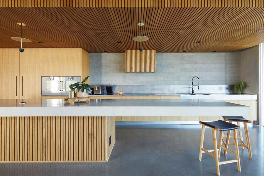 Timber Battens Contrast with Concrete