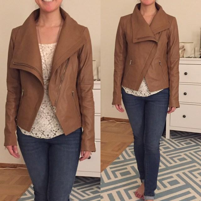 Trouve drape leather jacket fit