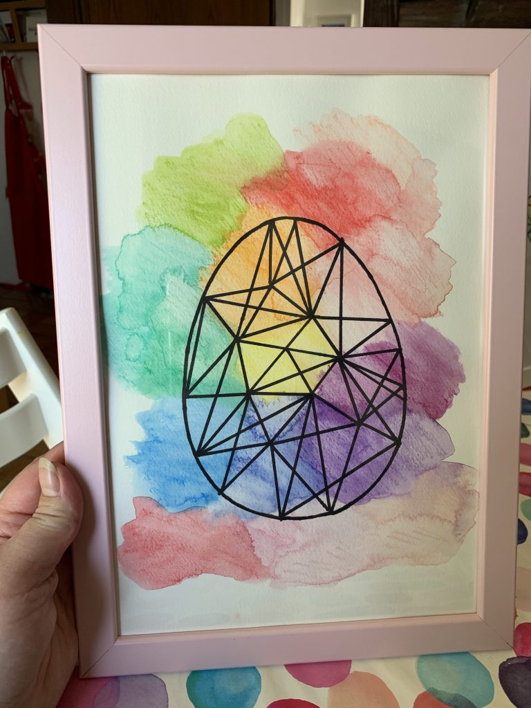 Easy graphic watercolour egg art; How to make your own eye-catching but simple graphic watercolour Easter art in 4 easy steps - so easy a small child can help!