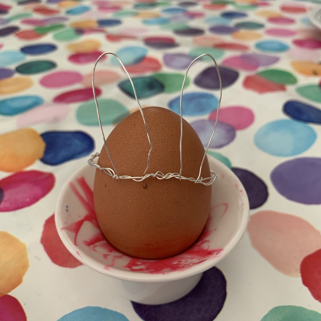 Scandi-impired wire bunny ear crowns for Easter eggs