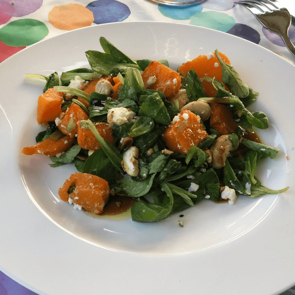 Tasty pumpkin and feta salad with yummy balsamic maple syrup dressing