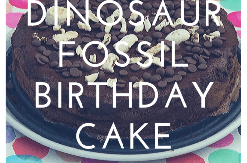 Dinosaur fossil birthday cake - chocolate mousse cake, marshmallow fossils and chocolate dirt