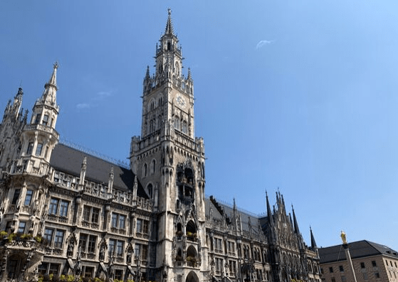 Neue Rathaus on Marienplatz, the next stop on our walking tour of Munich. Stay a while, watch the Glockenspiel and visit the tower