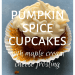 Pumpkin spice cupcakes with maple cream cheese frosting; The first in our Autumn cupcakes quartet; with cupcake on a blue background; teawithmum