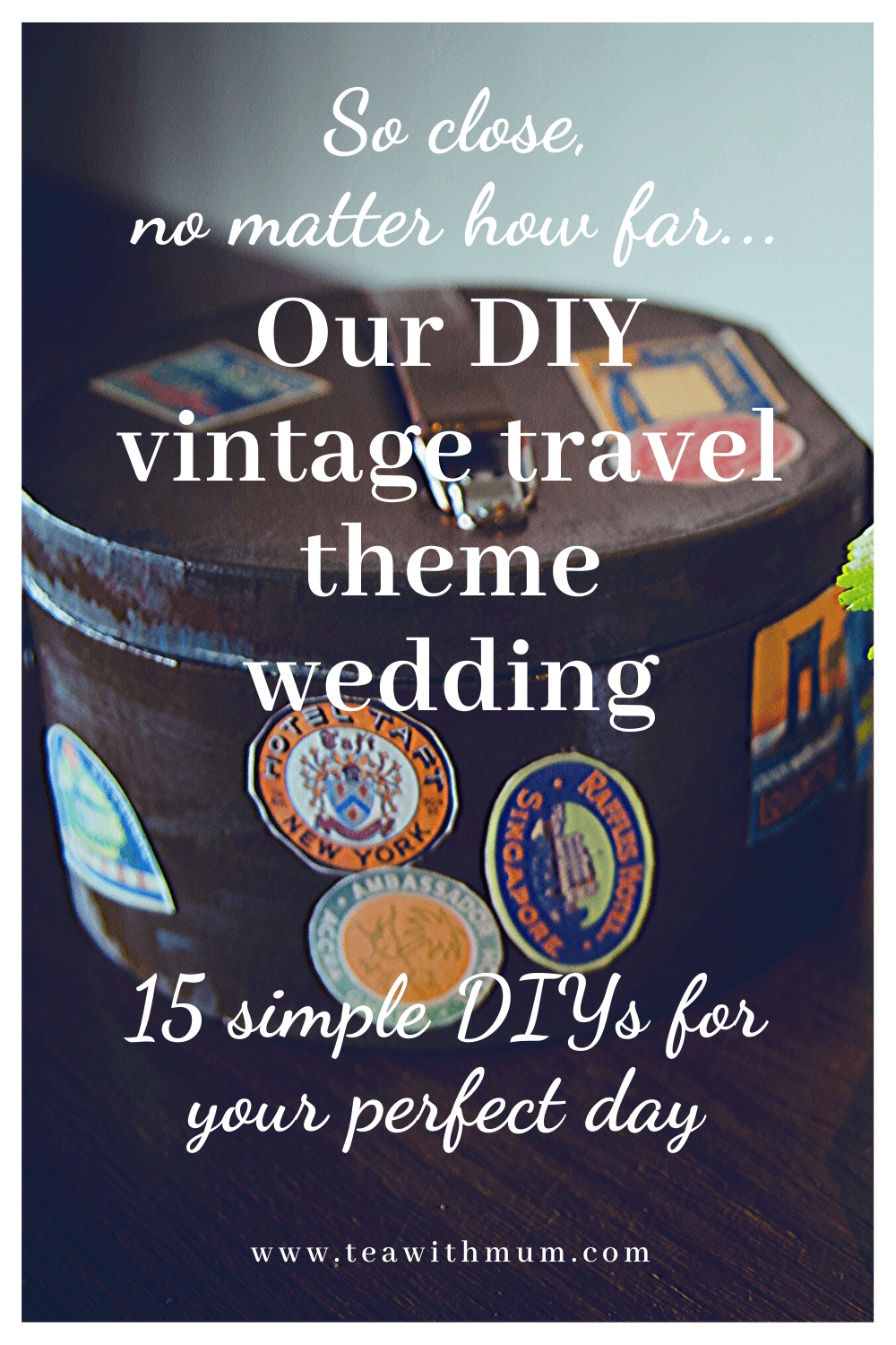 So close, no matter how far: Our DIY vintage travel themed wedding; 15 simple DIY ideas for your perfect day; red and navy wedding; decopatch suitcase with travel stickers for the ring bearer