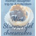 Memories of a mother-daughter trip to Amsterdam: Mini Stroopwafel cheesecakes; with mini stroopwafel cheesecake in wrapper topped with caramel sauce, blueberries and decorative bits of stroopwafels
