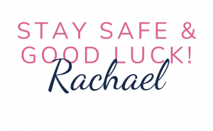 Stay safe & good luck sign-off pink