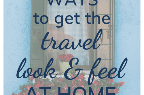 9 ways to get the travel look and feel at home; what can you do to your home to make it feel more like a holiday; image of blue house with window and shutters