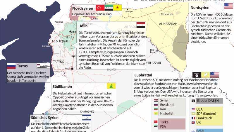Tebel-Report ¦ Infografik : Syrien-Krieg aktuell (Syria War Map) Nr. 32, 1.–8. Dezember 2018