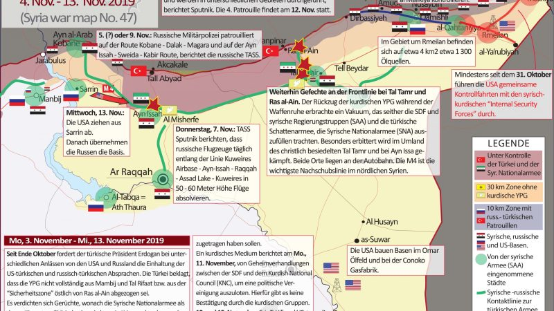 SYRIEN-KRIEG AKTUELL (Syria War Map) Nr. 47, 4 – 13. November 2019