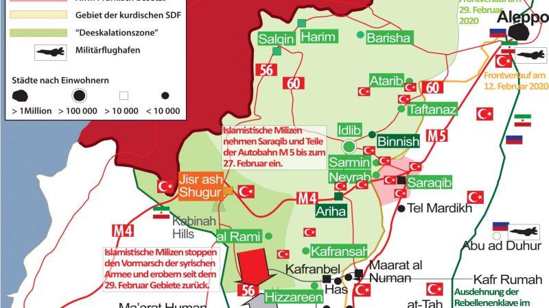 Medienberichte : Kampf um das strategisch wichtige Saraqib im Gange