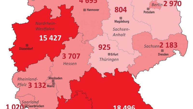 +++ Tebels Coronavirus-Karte von Deutschland +++ aktueller Stand: 2. April, 0.00