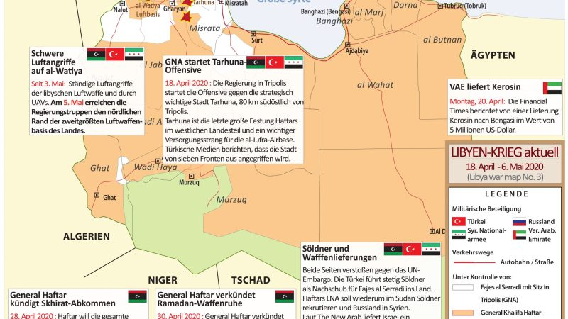 LIBYEN-KRIEG EXKLUSIV (Libya War Map) Nr. 3 : 18. April – 6. Mai 2020