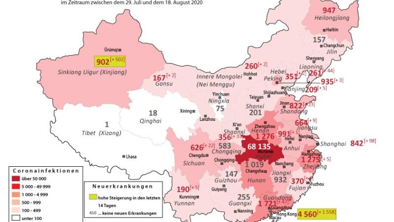 VR China : Zahlreiche Neuerkrankungen in Sinkinag Uigur und Hong Kong innerhalb von 2 Wochen