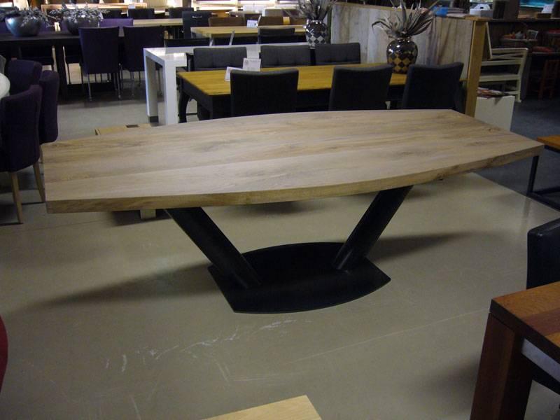 Half ovale tafel eiken RVS kanonpoot  Te Boveldt