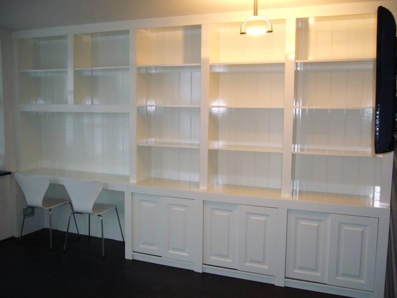 Inbouw boekenkast MDF Hoogglans RAL 9010  Te Boveldt
