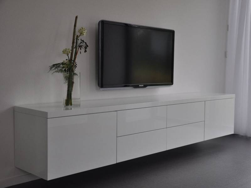 Tv meubel zwevend MDF hoogglans RAL9010  Te Boveldt