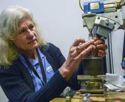 Beth Matlock conducts residual stress testing using the TEC 4000 x-ray diffraction unit.
