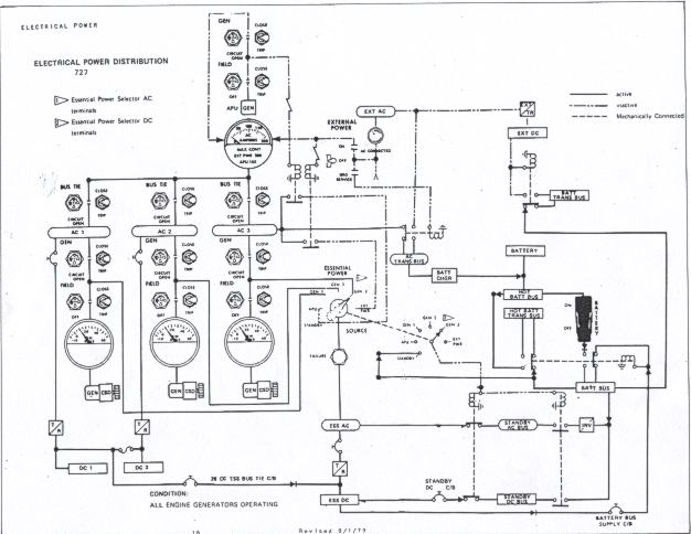 B-727 electrical power distribution