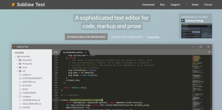 Página inicial do site do Sublime Text 3 com o botão de download, gifs de funcionalidades do Sublime passando.