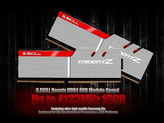 G.SKILL Boosts DDR4 8GB Module Speed Up to 4133MHz 16GB (8GBx2) 1