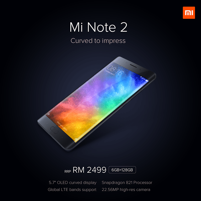 Xiaomi Mi Note 2 priced at RM 2,499; Available from 29 April 1