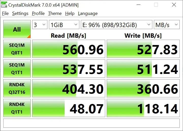 CrystalDiskMark Samsung 860 EVO 1GB (2)