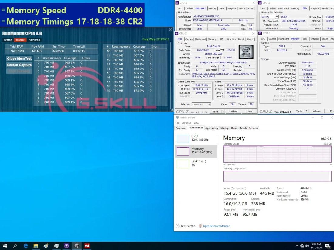 G.SKILL DDR4 4400 CL17 8Gx2 ASUS ROG Maximus XII Formula
