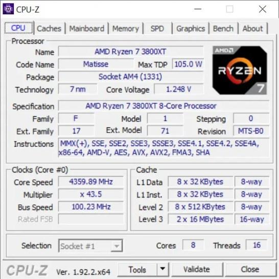AMD Ryzen 7 3800XT CPU Z Stock Boost
