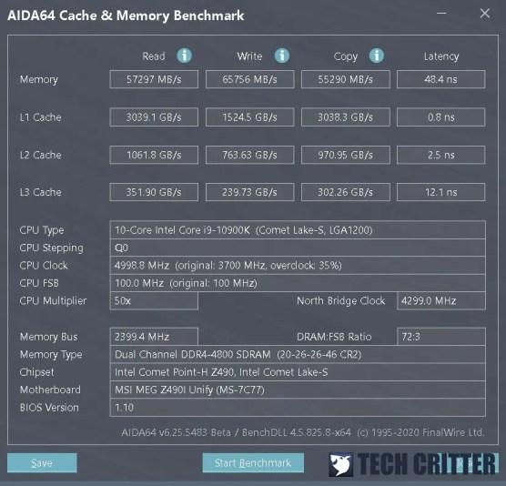 KLEVV CRAS XR RGB DDR4 4800 AIDA64 new