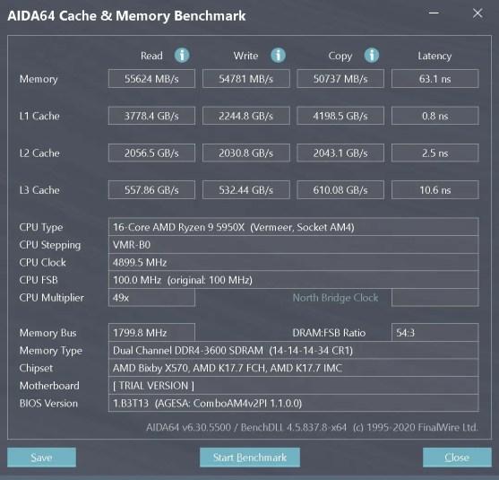 AMD Ryzen 9 5950X DDR4 3600 AIDA64