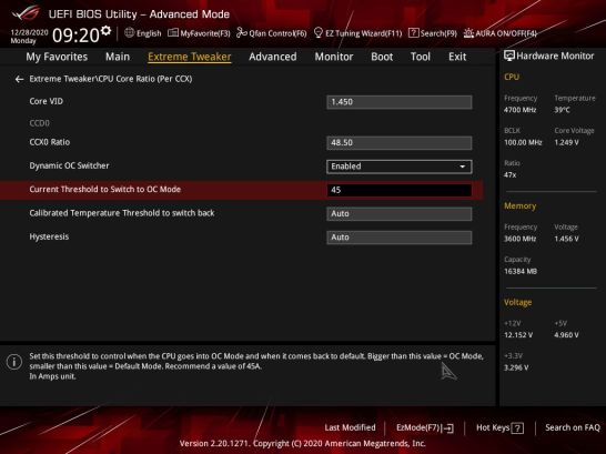 ASUS ROG CROSSHAIR VIII DARK HERO BIOS Dynamic OC Switcher 1