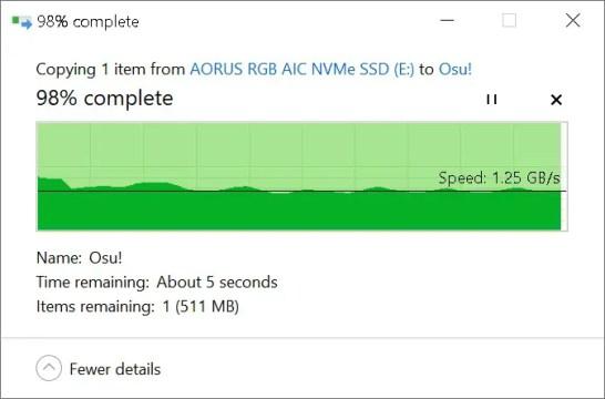 AORUS NVMe Gen4 SSD File Copy (From Gen3 SSD)