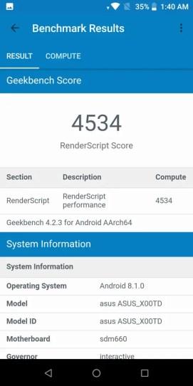 ASUS ZenFone Max Pro (M1) 6GB version Geekbench GPU benchmark