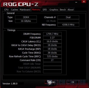 CPU-Z Teamgroup Nighthawk DDR4 RGB Manual 3600MHz