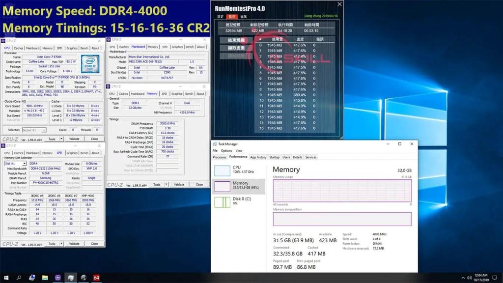 GSKILL Trident Z DDR4-4000 CL15 8GB x 4 Intel Z390