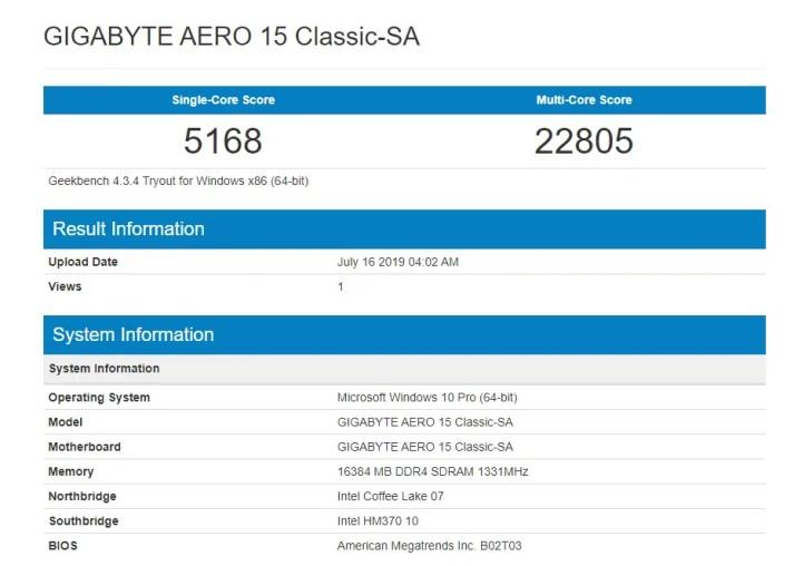 Gigabyte AERO 15 1660Ti Geekbench 4.3.4 CPU