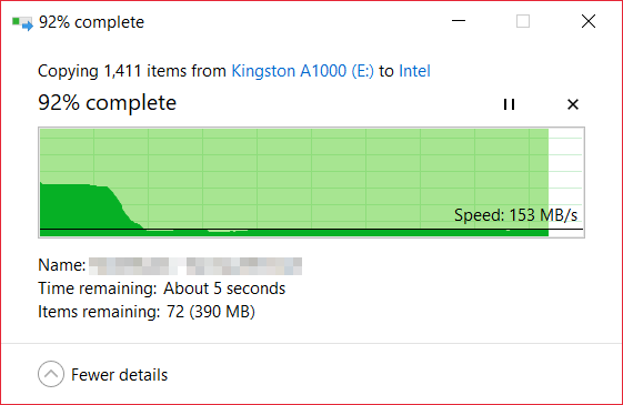 Kingston A1000 M.2 NVMe SSD copy out
