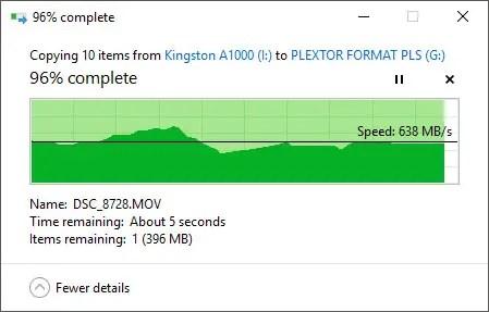 Kingston A1000 M.2 NVMe SSD copy out