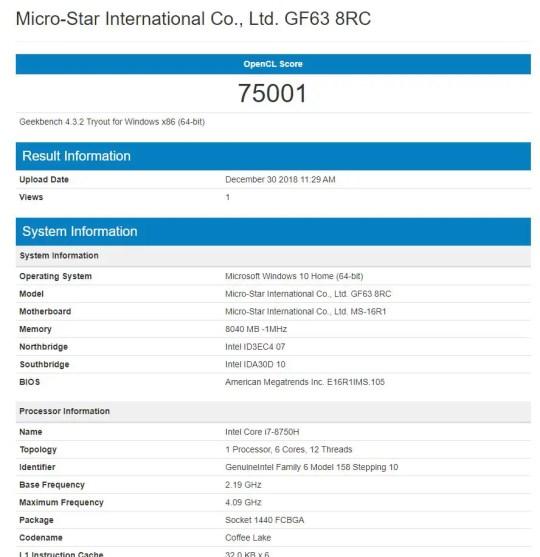 MSI GF63 8RC Geekbench 4 GPU