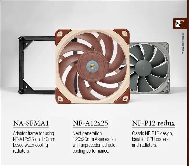 Noctua NF-A12x25 120mm fan 140mm adaptor NF-P12 Redux Line