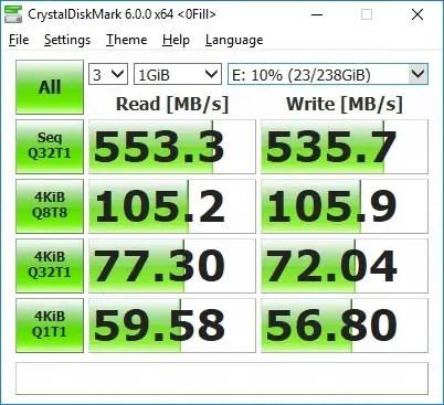 Pendrive M.2 SATA III SSD CrystalDiskMark 0fill benchmark