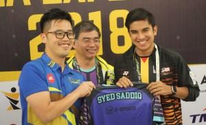 eSports SUKMA Experience - YB Howard Lee Presenting YB Syed Saddiq with Esports Jersey